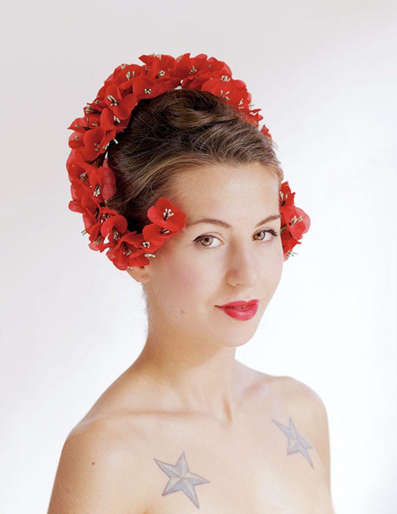 diadema flores novia  alta csotura